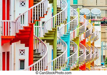 Bugis Village - Bugis village spiral staircases in Singapre.
