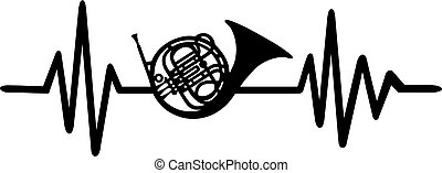 Bugle heartbeat line with instrument