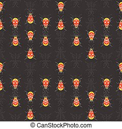 Bugs and Beetles Dark Colored Seamless Pattern