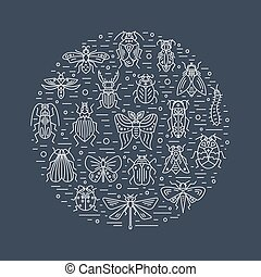 Bugs and insects circle design on background - Vector set of...