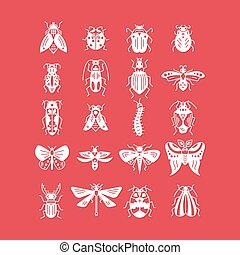 Bugs and insects icon isolated on background - Vector line...