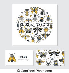 Bugs and insects identity design cards vector - Vector set...