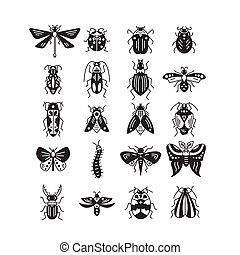 Bugs and insects isolated on white background - Vector line...