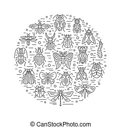 Bugs and insects isolated on white background - Vector set...