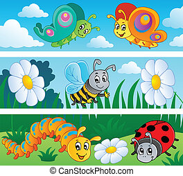 Bugs banners collection 1 - vector illustration.