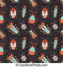 Bugs, Beetles and Scarabs Pattern in Flat