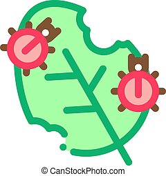 Bugs Eat Leaf Icon Vector Outline Illustration