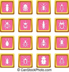 Bugs icons pink