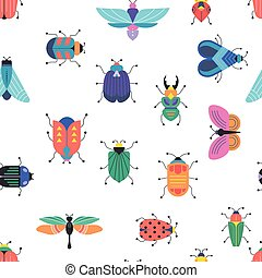 Bugs, insects, Butterfly, ladybug set