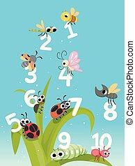 bugs, números, contar, ilustração, insetos