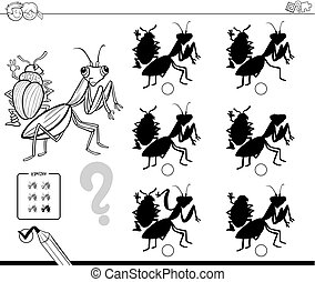 bugs shadows educational game color book - Black and White...
