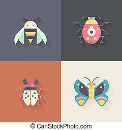 Bugs With Shadow - Collection of four insects made in flat...