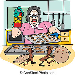 bugspray kitchen - a woman in a kitchen with food getting...