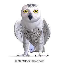 buho nevado, bird., 3d, interpretación, con, ruta de recorte, y, sombra, encima, blanco