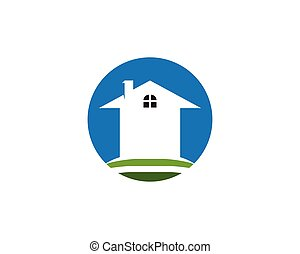 buiding, hogar, logotipo, plantilla