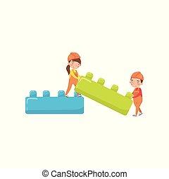 buiding, lindo, juguete, actividades, niño, bloques, ilustración, caricatura, temprano, vector, niña, educación, juego, niñez, preescolar