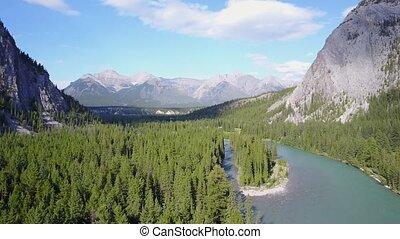 buig rivier, tussen, rockies, bergen, in, nationaal park banff, canada