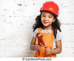 buigtang, weinig; niet zo(veel), het glimlachen, girl-worker, handen