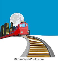 buil, 列車, の上, 到来