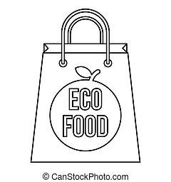 buil, met, de, inscriptie, eco, voedingsmiddelen, pictogram