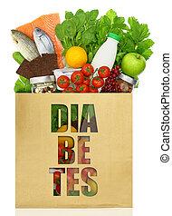 buil, met, de, woord, diabetes, gevulde, met, gezonde , voedsel