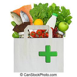 buil, met, medisch, groene, kruis, gevulde, met, gezonde , voedsel