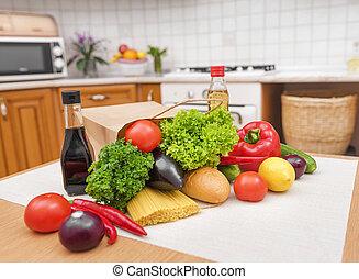 buil, met, voedingsmiddelen, in, de, kitchen.