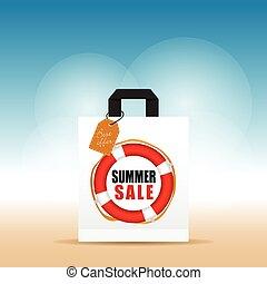 buil, met, zomer, verkoop, en, label, kleurrijke, illustratie