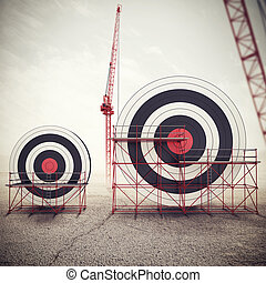 Build a business target and achieve more important goals . Mixed media 3D illustration