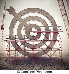 Build a business target . Mixed media 3D illustration