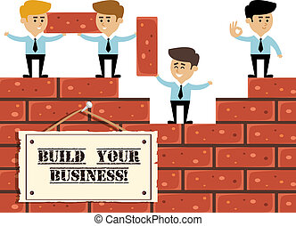 Build business concept with businessmen on brick wall ...