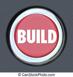 Build Red 3d Button Begin Construction Development Work