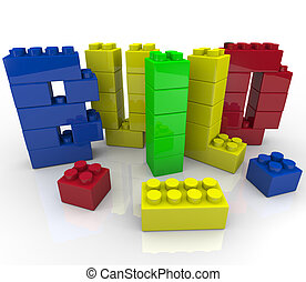 Build Word in Toy Building Blocks