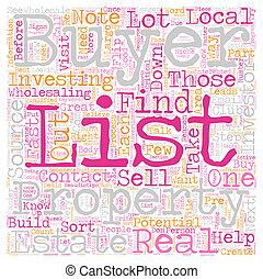 Build Your Buyers List text background wordcloud concept