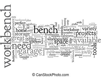Build Your Own Garage Workbench text background wordcloud concept