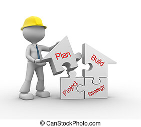Builder - 3d people - man, person with a house pieces of...