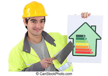 Builder advising people to reduce energy consumption