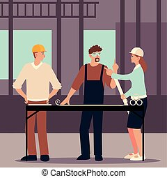 builder and architects with blueprint on table in construction project place vector illustration