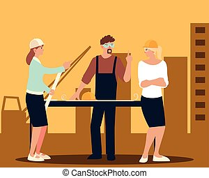 builder and female architects with blueprint on table in construction project place vector illustration