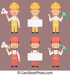 Builder and Repairman Holds Megaphone Poster Money