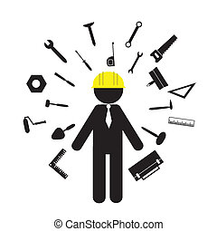 builder and tools icons on white background
