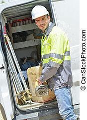 Builder arriving on site