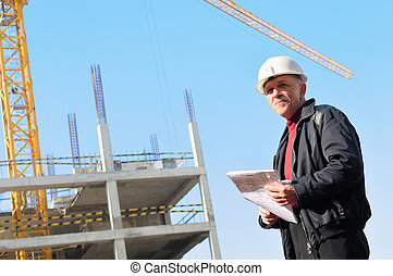 builder at construction site
