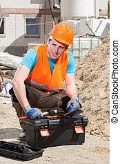 Builder before work