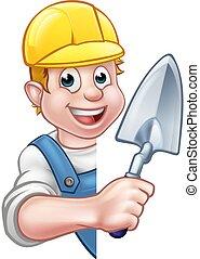 Builder Bricklayer Holding Trowel Tool