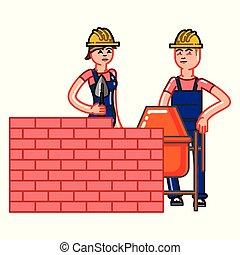 Builder build a brick wall