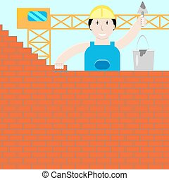 Builder builds a brick wall