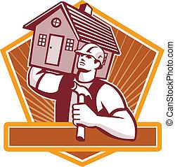 Builder Carpenter Carry House Retro - Illustration of a...