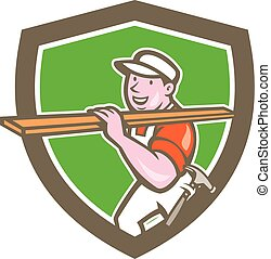 Builder Carpenter Carrying Timber Shield Cartoon - ...