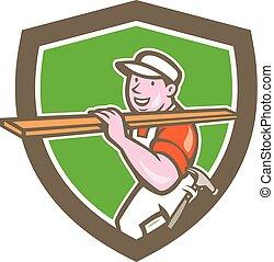 Builder Carpenter Carrying Timber Shield Cartoon -...